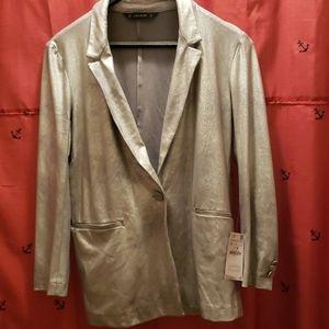 NWT zara metallic blazer size L